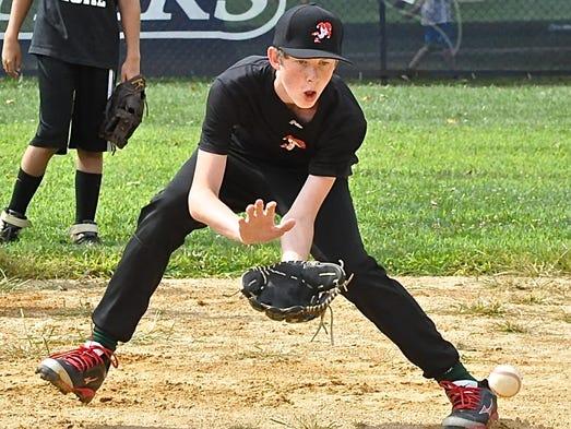 Liam Shier looks to field ball during a drill Thursday during Hardball NYÕs baseball camp.