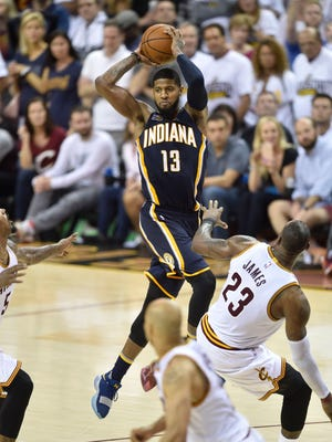 Apr 15, 2017; Cleveland, OH, USA; Indiana Pacers forward Paul George (13) throws a pass late in the fourth quarter against the Cleveland Cavaliers in game one of the first round of the 2017 NBA Playoffs at Quicken Loans Arena. Mandatory Credit: David Richard-USA TODAY Sports