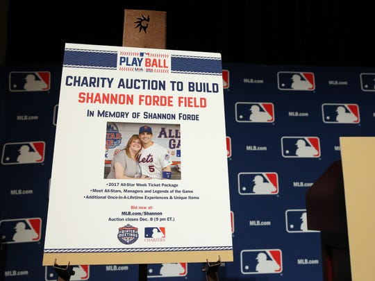 NATIONAL HARBOR, MD - DECEMBER 5: PLAY BALL Auction press conference honoring Shannon Forde during the 2016 Winter Meetings on Monday, December 5, 2016 at the Gaylord National Resort & Convention Center in National Harbor, Maryland. (Photo by Alex Trautwig/MLB Photos via Getty Images) *** Local Caption ***