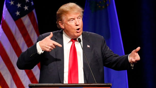 Republican presidential candidate Donald Trump speaks about Army Sgt. Bowe Bergdahl at a rally Dec. 14, 2015, in Las Vegas.