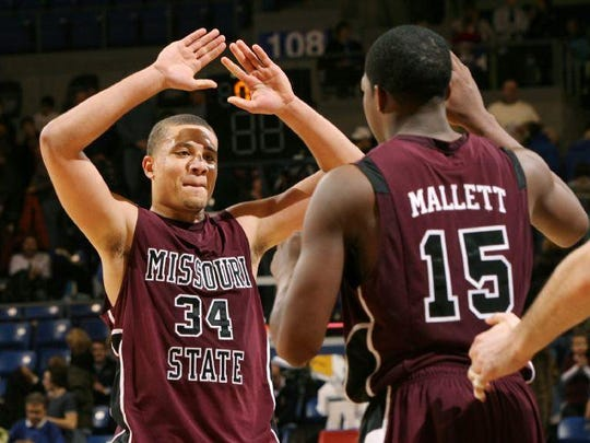 Kyle Weems (34) and Jermaine Mallett are two members of the 2011 Missouri State basketball team scheduled to be in Springfield later this month.