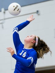 Freshman Skyler English serves the ball on Tuesday, November 7, 2017 during the 7A regional final game against Port Charlotte at Barron Collier High School.