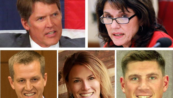Potential GOP challengers to U.S. Sen. Tammy Baldwin (clockwise) investor Eric Hovde, state Sen. Leah Vukmir, business consultant and Marine veteran Kevin Nicholson, education researcher Nicole Schneider and state Rep. Dale Kooyenga.