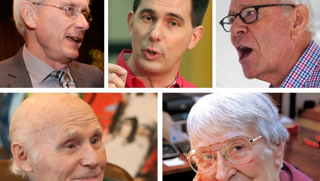 (Clockwise from upper left) Tony Evers, state superintendent of public instruction and Democratic candidate for governor; Gov. Scott Walker; business leader Gus Ramirez; Sister Joel Read, the longtime leader of Alverno College; and former U.S. Sen. Herb Kohl.