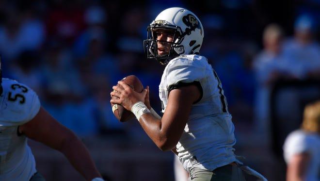Colorado quarterback Sefo Liufau gets set to pass against UCLA on Oct. 31, 2015, in Pasadena, Calif.