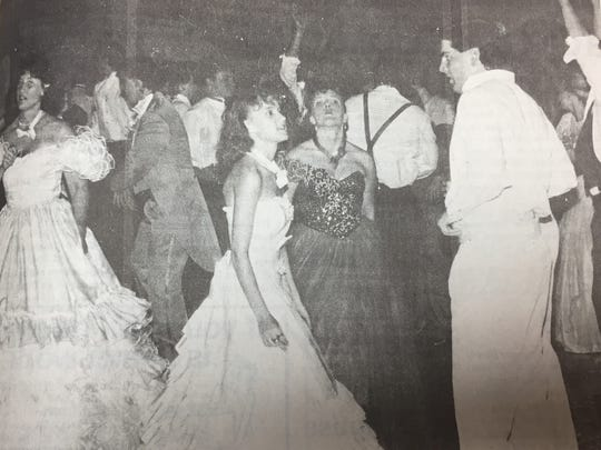 Union County High School held its 25th prom in May 1989. Pictured from left are Michelle Howard, Michelle Fenwick, Shane Taylor, and Shawn Cowan.