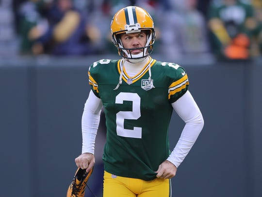 Green Bay Packers kicker Mason Crosby (2) heads out for warmups before the game against the Atlanta Falcons Sunday, December 9, 2018 at Lambeau Field in Green Bay, Wis.