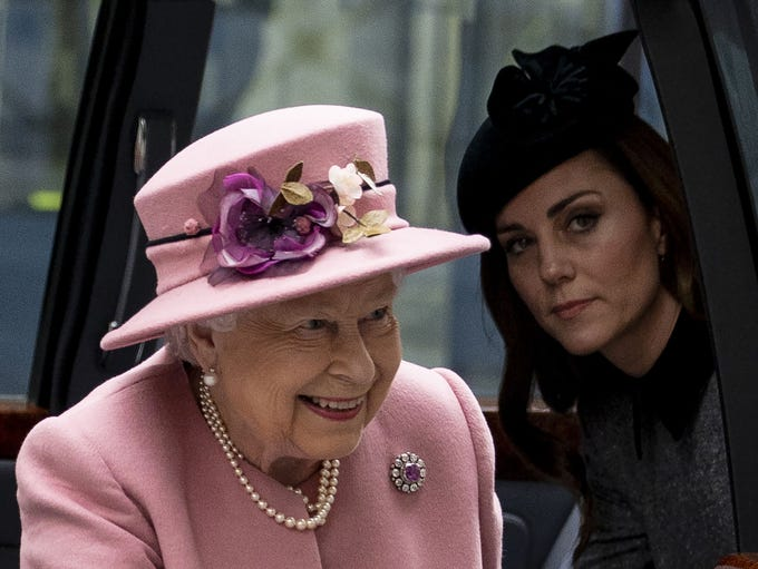 Britain's Queen Elizabeth II and Britain's Catherine,