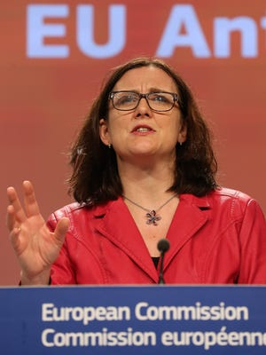 Cecilia Malmstrom is photographed during a press conference to launch the first Anti-Corruption Report, at the EU Commission headquarters, in Brussels, Belgium, on Feb. 3, 2014.