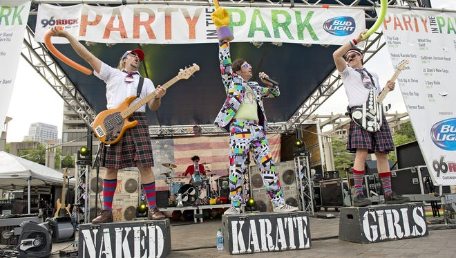The Naked Karate Girls performing at Party in the Park.
