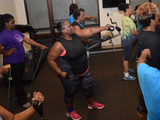 "Michelle Joseph, 41, said she has more energy and knows exercise is good for the heart rate. Since she has joined the class, Joseph said she lost about 10 pounds. ""I can't miss,"" she said. ""It's wonderful for anybody. I'm so energetic now."""