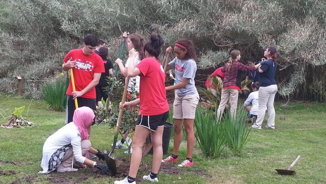 Comeaux High students plant trees at Zoosiana.