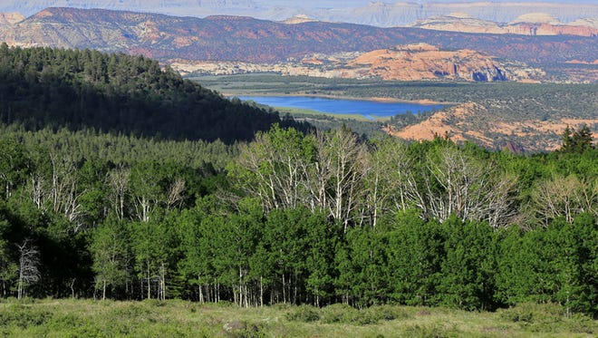 Utah Route 12 offers views of Capitol Reef National Park from Boulder Mountain.