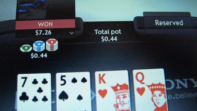 File photo shows a computer screen in Atlantic City, N.J., and an Internet poker game in which a player won a bet.