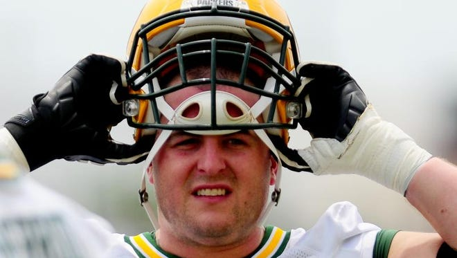 Green Bay Packers offensive lineman Don Barclay during OTA practice at Ray Nitschke Field, Tuesday, June 10, 2014.