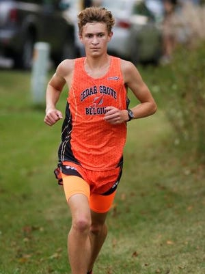 Cedar Grove-Belgium's Steven Lavey runs during the Sheboygan Lutheran Cross Country Invitational on Tuesday.