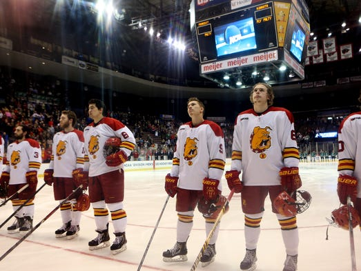 Ferris State stands during the playing for the National Anthem.