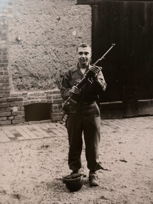 Bob Lieberman with the 104th Infantry Division in World War II. His unit participated in the final push into Germany and met up with the Soviet army near the end.