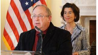 Dr. James McDonald, of the state Department of Health, speaks April 1 at Gov. Gina Raimondo's news briefing on COVID-19.
