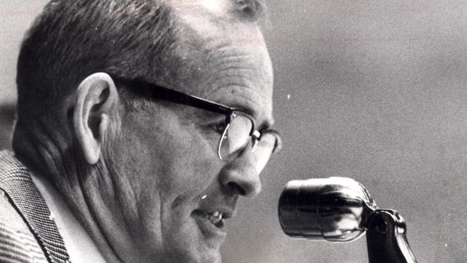 Joe Cullinane, in 1968, the former voice of the minor league Rochester Red Wings.