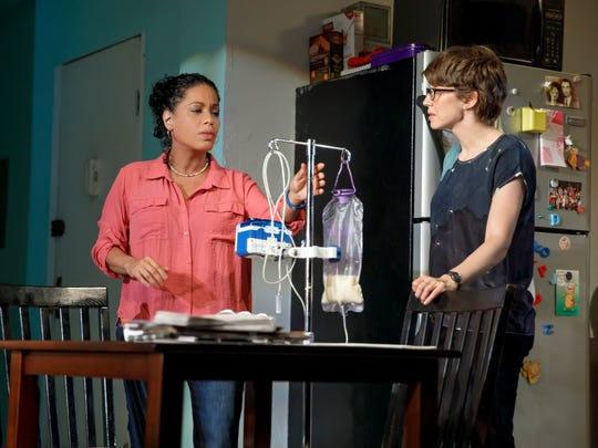"Lisa Colón-Zayas (left) and Carrie Coon in a scene from ""Mary Jane."""