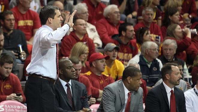 Steve Prohm instructs his players against Colorado during his first game as Iowa State's head coach.