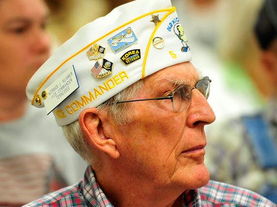 Norman Nuismer listens in the audience during a town hall meeting with officials including Tennessee Valley Healthcare System Director Juan Morales.