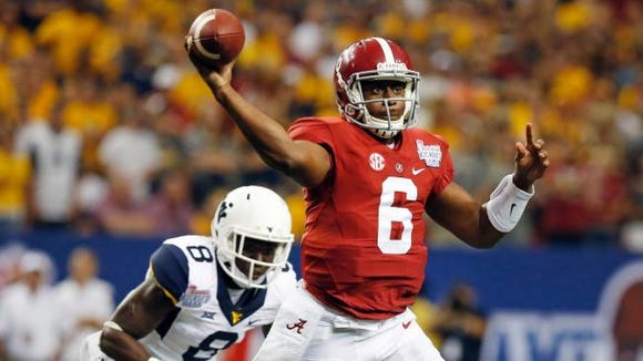 Fifth-year senior Blake Sims threw for 250 yards in his first career start at Alabama in last Saturday's 33-23 win against West Virginia at the Georgia Dome in Atlanta.