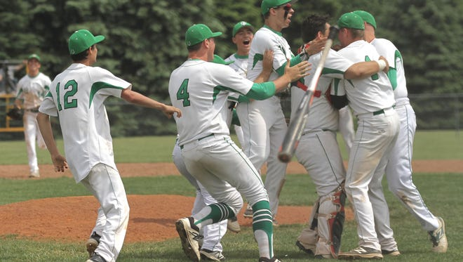 The Clear Fork baseball team rallies around Gavin Bailey after they had won against Margaretta after the division III district final at Shelby High School.