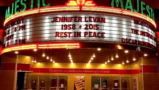 A marquee recognizes Jennifer LeVan's contributions to Gettysburg's Majestic Theater several days after her death.