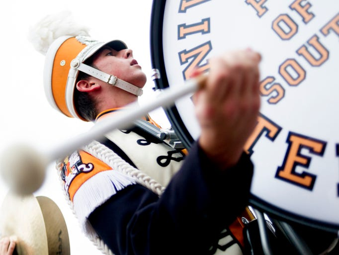 A Pride of the Southland Band member drums during the