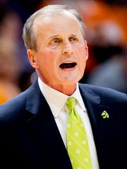 Tennessee Head Coach Rick Barnes calls during a game between Tennessee and Furman at Thompson-Boling Arena in Knoxville, Tennessee on Wednesday, December 20, 2017.