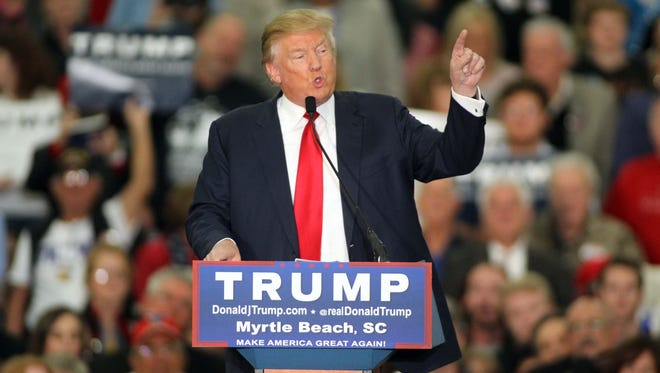 Republican presidential candidate Donald Trump speaks during a campaign event at the Myrtle Beach Convention Center in Myrtle Beach, S.C.