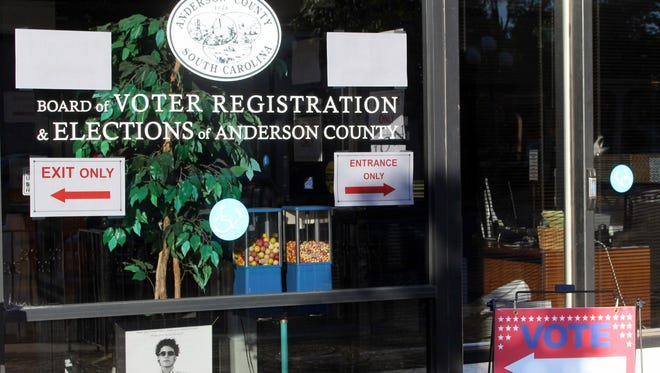 In-person absentee voting began last week at the Anderson County Board of Voter Registration and Elections office on North Main Street in downtown Anderson.
