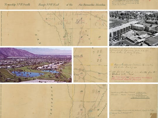 A map from the 1850s and images of the Canyon Country Club and Spa Hotel from the 1960s and 70s,