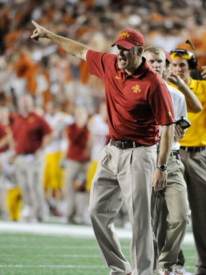 Oct 18, 2014; Austin, TX, USA; Iowa State Cyclones head coach Paul Rhoads reacts against the Texas Longhorns during the second half at Darrell K Royal-Texas Memorial Stadium. Texas beat Iowa State 48-45.