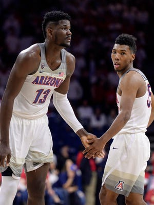 Arizona Wildcats forward Deandre Ayton (13) and guard Allonzo Trier (35) have entered the2018 NBA draft.