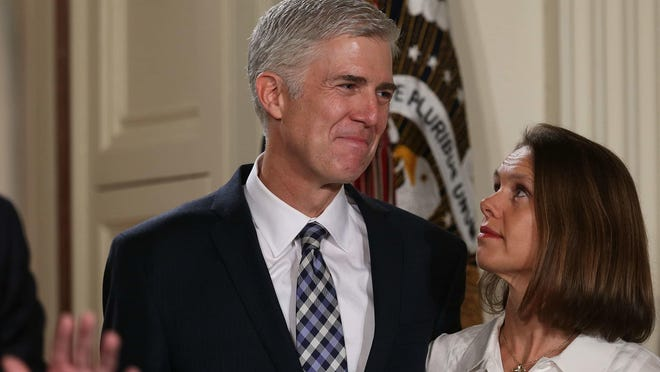 Neil Gorsuch, with his wife, Louise, could, at 49, represent a generational change at the Supreme Court.