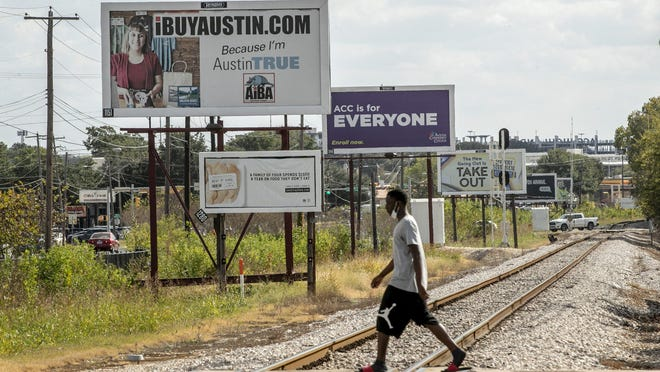 Billboards are lined up along Airport Boulevard. A federal appeals court ruled in August that Austin's ban on off-premise digital billboards violates the First Amendment freedom of speech. The city will ask the U.S. Supreme Court to review that decision.