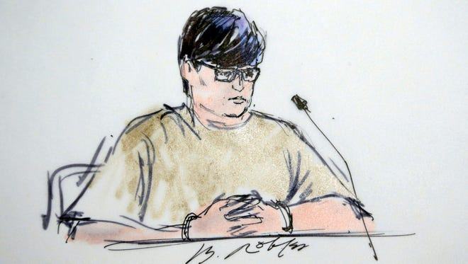 In this courtroom sketch, Enrique Marquez Jr. appears in federal court in Riverside, Calif., Thursday, Dec. 17, 2015.