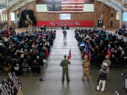Visitors enjoy the annual Salute to Veterans of the U.S. Armed Forces program at St. John's Northwestern Military Academy in Delafield on Friday, Nov. 10, 2017.