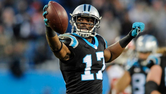 Carolina Panthers wide receiver Devin Funchess celebrates a first down against the Tampa Bay Buccaneers in Charlotte, N.C., on Sunday, Jan. 3, 2016.