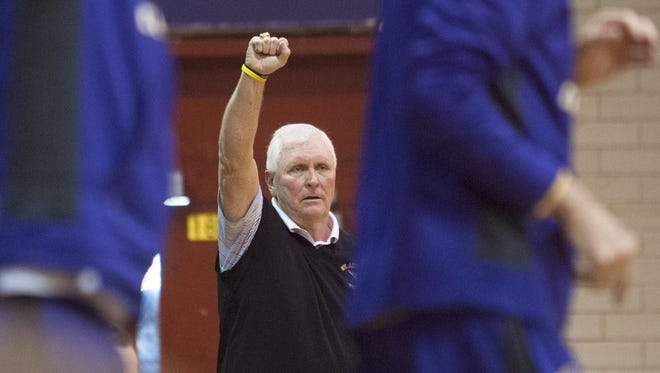 Legendary coach Bob Hurley Sr. instructs his St. Anthony High School boys' basketball team during a game at Camden this past season.