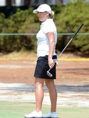 Cristie Kerr studies the green during a practice round of the U.S. Women's Open at the Pinehurst Resort and Country Club #2 Course.