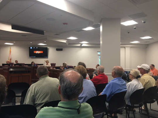 More than a dozen Estero residents attended Wednesday's Estero Design Review Board to learn more about a proposed Aldi store.