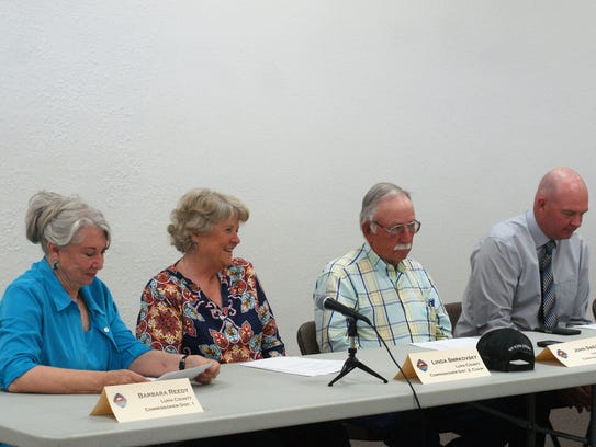 From left, Luna County Commissioners Barbara Reedy,