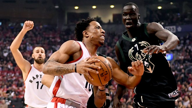 Thon Maker caught the attention of Toronto Raptors star guard DeMar DeRozan in Game 1.
