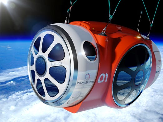 This rendering shows how World View Voyagers will be transported to the edge of space via a luxuriously styled pressurized space capsule