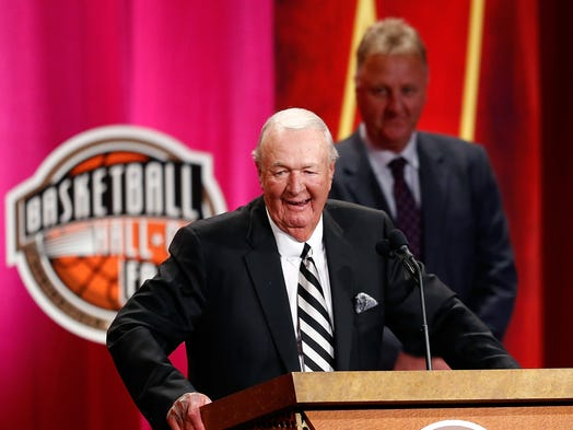 Bob Leonard, inductee speaks while he stands with presenter Larry Bird during 2014 Basketball Hall of Fame Enshrinement Ceremony at Symphony Hall on August 8, 2014 in Springfield, Mass.