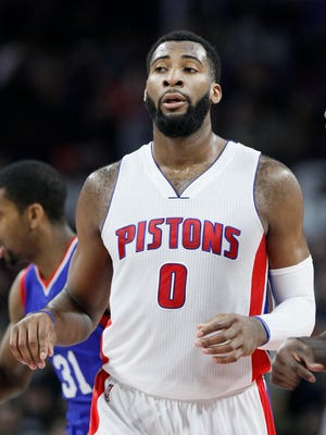Detroit Pistons center Andre Drummond runs upcourt against the Philadelphia 76ers on Jan. 17, 2015, in Auburn Hills.